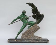 Georges Van de Voorde (1878-1970) - Art Deco Sculpture - Hercules with Eagle