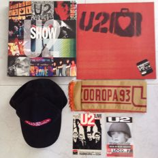 U2: Memorabilia:  Show 316 page hardcover book. U2 Elevation tour concert program and caps. .Zooropa 93 fan banner. + 2 rare promo cards
