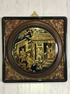 A wooden panel with black lacquer, painted with several color's, garden and figure scene - China - 19th century