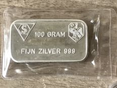 Old 100 gram silver bar Schöne BV Amsterdam in seal.