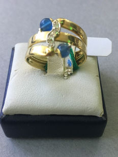 18 kt gold ring with zircons, size: 13