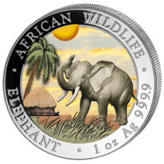 Somalia – 100 shillings 2017 'elephant' with colour – 1 oz silver