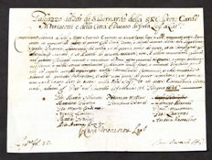 Permit to cardinal weapons with signature of Italian cardinal Galeazzo Marescotti - 1676