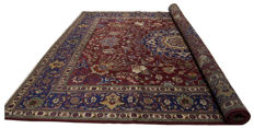 (Size: 358 x 304 cm) Authentic, original Persian rug (hand-knotted) - TABRIZ, PERSIA, IRAN - Era. 1940-1950 - With certificate of authenticity from an official appraiser (Galleria Farah 1970)