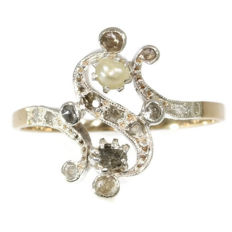 Victorian Antique romantic 'Toi et Moi' inspired diamond and pearl gold ring