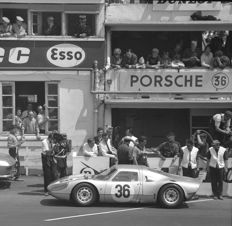 1965 Le Mans 24 hour Porsche 904 pits  Black and white photograph