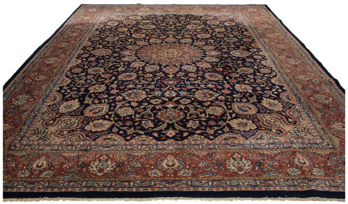 (Size: 240 x 340 cm) Original, authentic antique Persian rug, IRAN, Kashan, hand-knotted, from 1950s with certificate of authenticity from an official appraiser – (Galleria Farah 1970)