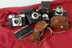 Lot of 11 Agfa cameras and flashes - from around the 1960s