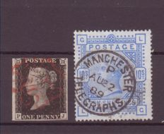 Great Britain - 1840/84 - 1 Penny Black and blue 10 shilling stamp