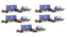 Liliput H0 - 5 x L240111 - 10 Pieces open freight wagons with 'THW' container and van loading of the DB