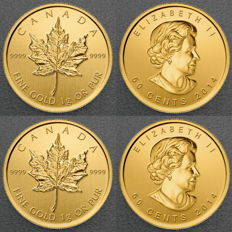 Canada - Royal Canadian Mint 2 pieces of 999 gold coins Maple Leaf 2016 - maple gram - in blister with certificate