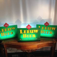 3 X Illuminated Lion beer advertising display signs