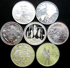 San Marino - 5 and 10 Euros, 2003/2010 (7 different coins), silver