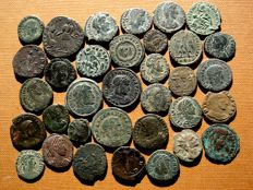 Roman Empire - 34 roman bronze coins lot, III-IV centuries A.D. Gallienus, Claudius II (3), Licinius I, Helena, Constantine I (5) and II (3), Constans (3), Constantius II (8), Julian II (2), Valens, Valentinian I, Arcadius and other rulers. (34)