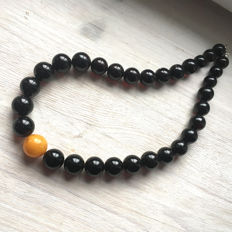 Baltic Amber, modified ball beads, egg yolk and dark cherry, 75 grams