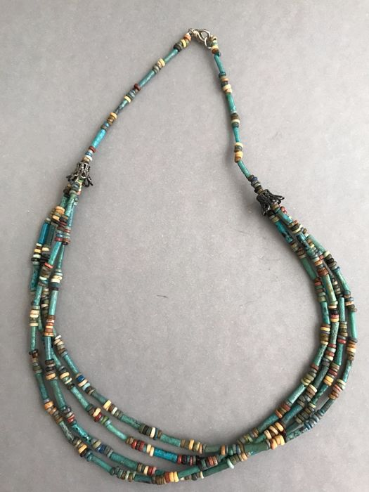 Ancient Egyptian mummy beads 4 strands necklace - 18 Inches