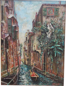 Unknown artist - (20th century) - View of Venice with a gondolier