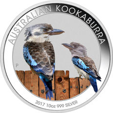 Australia - 1 silver dollar, 2017 - uncirculated - 1 oz 999 silver coin, Kookaburra - in an exclusive coloured edition