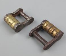 Two antique wrought iron and brass combination padlocks-19th century