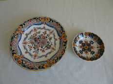 Tichelaar - Two plates with floral and one with bird and floral decor