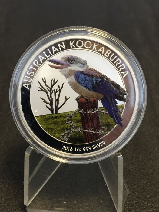 Australia - 1 AUD - Perth Mint Kookaburra 2016 - Colour edition - 1 oz 999 silver