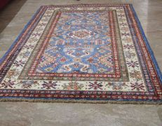 Hand knotted Afghan Super Kazak made from hand spun wool with veggie colors 147 x 102 cm. 21st century.