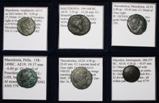 Greek Antiquity - Lot of 6 Greek Coins - Thessalonica, Pella, Amphipolis, Interregnum - All Classified
