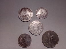 Kingdom of Italy – Lot of 5 coins, Vittorio Emanuele II & III (including silver)