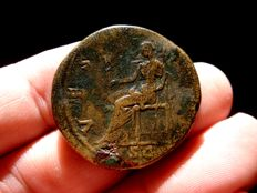 Roman Empire - Sabina, wife of Hadrian (117 - 138 A.D.) bronze sestertius (26,02 g. 30 mm). Rome mint. circa 128-136 A.D. VESTA. Vesta seated.