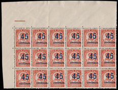 Spain 1938 – Numbers authorised with new value in block of 18 – Edifil 743
