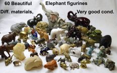 Very nice collection of 60 elephants from diff. materials