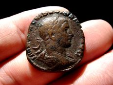 Roman Empire - Volusian (251 - 253 A.D.) bronze sestertius (13,64 g. 27 mm.) from Rome mint. IVNONI MARTIALI. S-C. Scarce.