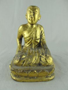 Wooden monk with paintwork - Burma - 2nd half of 20th century