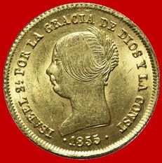 Spain – Isabel II (1833-1868), 100 reales gold coin – 1855 – Seville