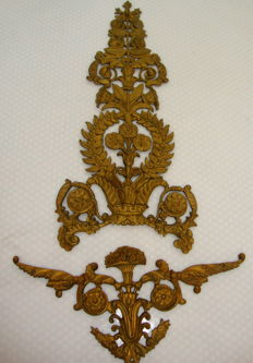 Two richly decorated bronze ornamental fittings - Portugal, ca. 1900's