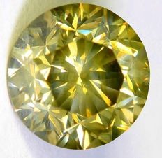 Diamond - 1.06 ct - Fancy Greenish Yellow - SI1 - Low reserve price