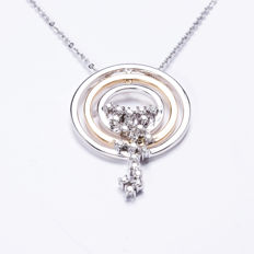 Diamond Two Tone Pendant with a total of 0.25ct 14KT white gold Collier - 42cm