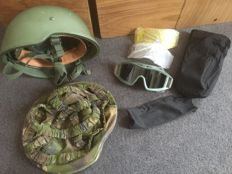 Kevlar helmet and a Revision Locust glasses of the Dutch army