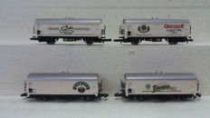Märklin Z - 8208 - Set of 4 refrigerated carriages of various East German beer brewers of the DR