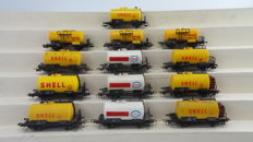 "Roco/Pico H0 Piko - including 4384A - 13 piece 4-axle wagons of the boiler ""Shell/Esso"" of the DB"