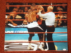 "Mike Tyson - Multiple world champion heavyweight boxing - Original signed huge (50 x 40 cm) photo poster ""Biting incident Holyfield"" + JSA COA."