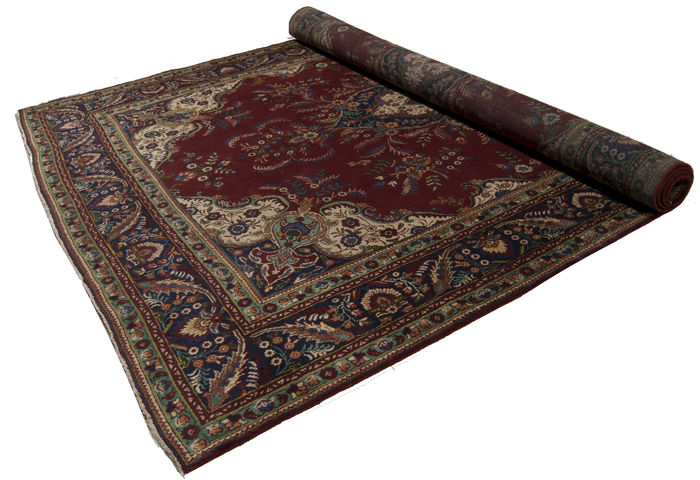 (SIZE 380 x 270 cm) Authentic Persian rug, Original (HAND-KNOTTED) (TABRIZ, PERSIA / IRAN) (Period: 1940–1950), With certificate of authenticity from an official appraiser (Galleria Farah 1970) 94703
