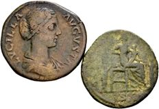 Roman Empire – Lot of 2 AE Sestertii of Lucilla, wife of Lucius Verus (161–169 A.D.), struck in Rome