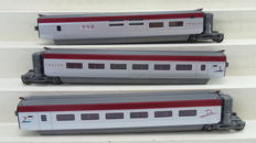 "Mehano H0 - T678 - 3-piece expansion set for the high-speed train Thalys PBKA 1st/2nd class  and ""BAR"" carriage of the international railways"