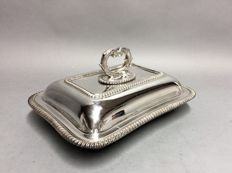 Silver plated double serving tray with detachable knob, Peter Wilson, England, ca. 1900