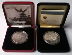"Ireland - 10 Euros 2008 Skellig Michael Island and 15 Euro 2013 ""Dublin The Lockout"" (2 coins) - silver"