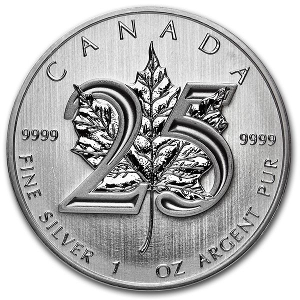 Canada - $5 - 1 piece 999 silver coin, Maple Leaf, 2013, 25th Anniversary Edition
