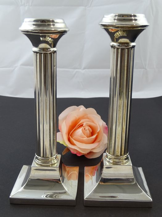 Set of silver column candle stands, Lyppens, Netherlands, 1989