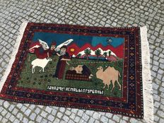 Unique PICTORAL IRAN RUG 170X115cm -hand knotted