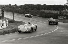 1954 Le Mans 24 hour Porsche 550 /4 rs spider Jaguar d type  Black and white photograph